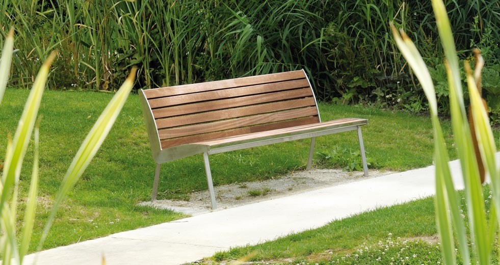 Area - Bench with backrest - Miami inox