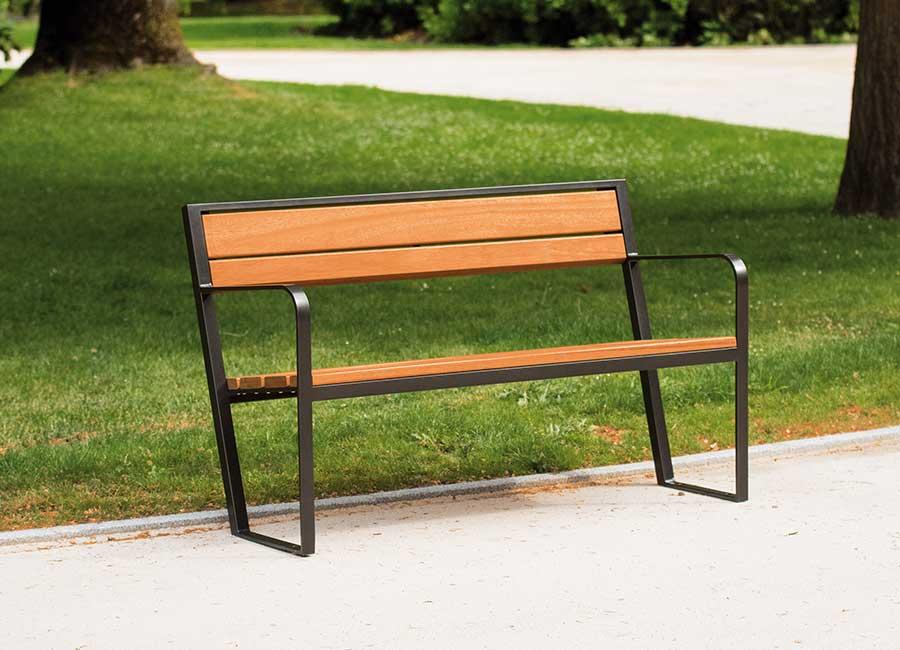 Bench with backrest - Prague B110